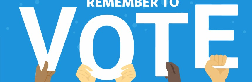 "On a blue background, white text reads ""remember to"", then hands hold up each letter of ""vote"""