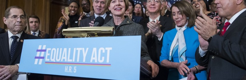 Sen. Tammy Baldwin (D-Wis.) attends a rally to introduce the Equality Act in 2019.