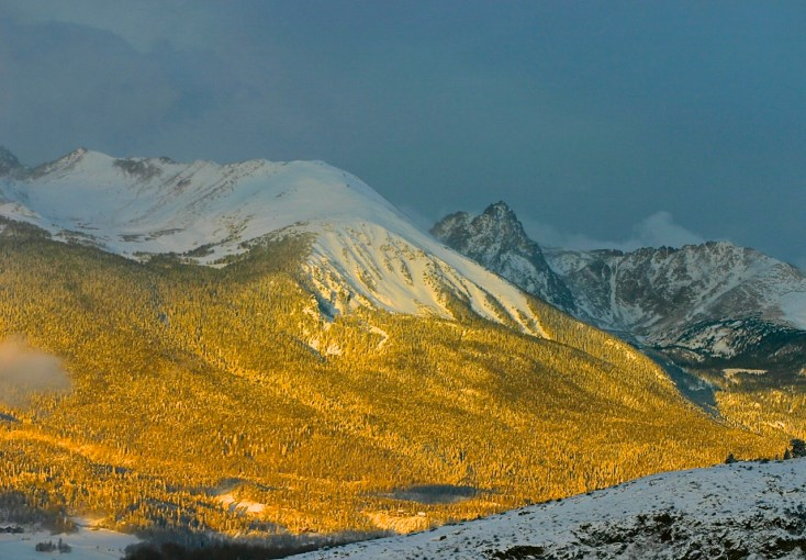 Morning alpenglow on the Gore Range.