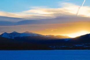 Slanting sunlight over Dillon Reservoir.