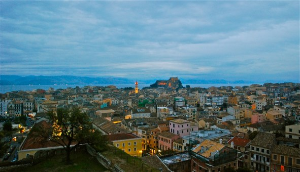 Evening view over the rooftops of Corfu.