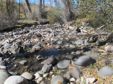A dry section of the Little Cimarron River below the diversion.