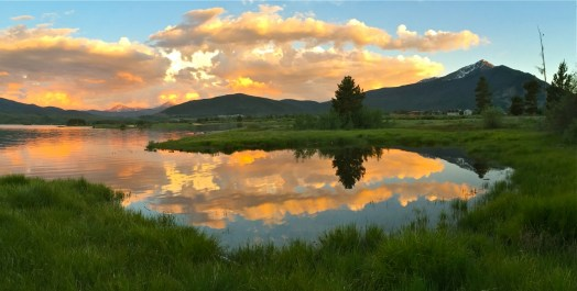 An iPhone pano along the shore of Dillon Reservoir highlights evening sunset colors.