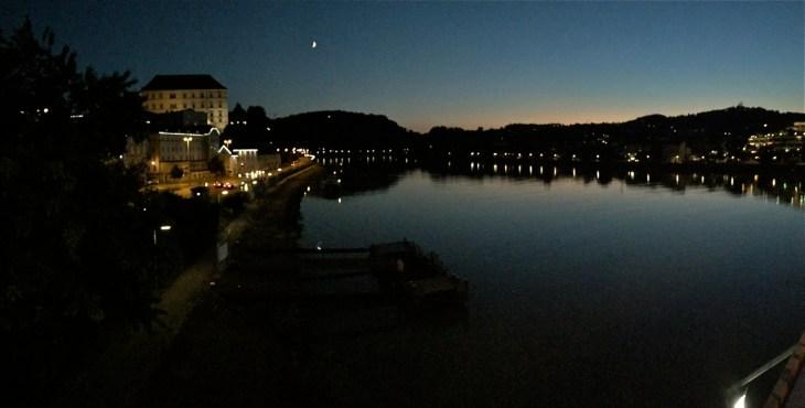 Moon over the Danube in Linz, Austria.
