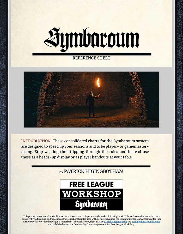cover image for the Symbaroum Reference Sheet