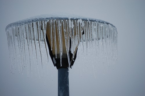 Windblown icicles on a lamp in Lexington