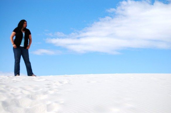 Kentucky shaped cloud above the White Sands National Monument in New Mexico