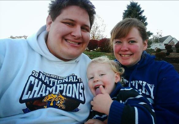 My son Seth and his wife Holly decked out in UK gear.