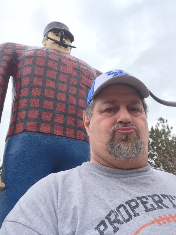 With the old Paul Bunyan statue (built in 1937) in Bemidji, MN in May 2014