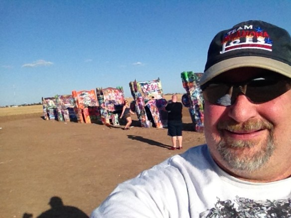Selfie with the Caddies of Cadillac Ranch in Amarillo, TX in June 2013