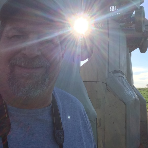 A star shining brightly at Carhenge in Alliance, Nebraska in May 2014