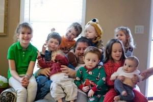 David (Grampz) with all 9 grandchildren on Christmas Day 2012
