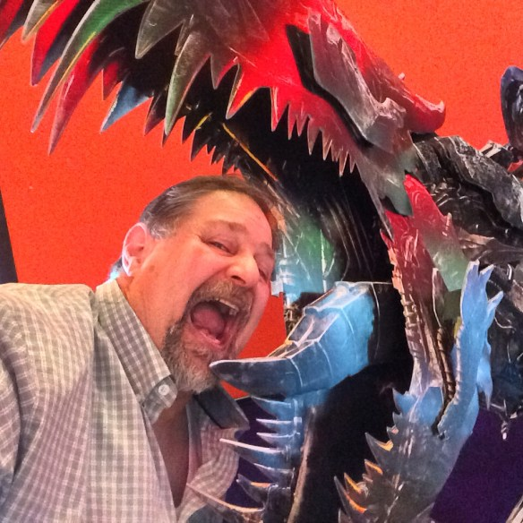 Being chomped by a Transformer Dinosaur at the movie theater in Lexington - July 2014