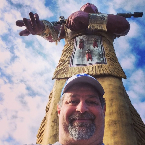 Sumoflam with Hiawatha, the largest statue of a native American in the U.S. This was taken in Ironwood, MI in May 2014