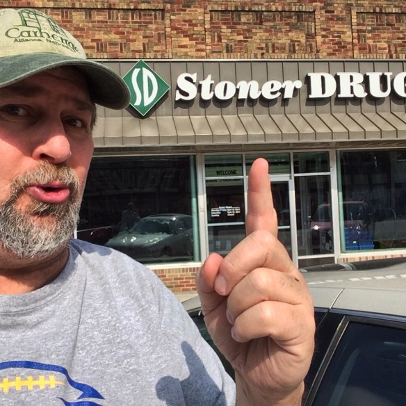 I always like to get a selfie at unusual places, like Stoner Drug in Hamburg, Iowa