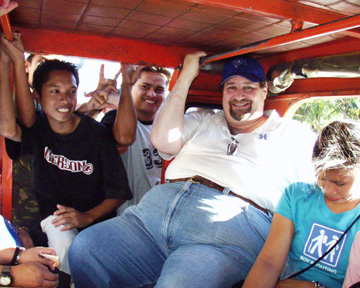With friends in a Jeepney in Cebu