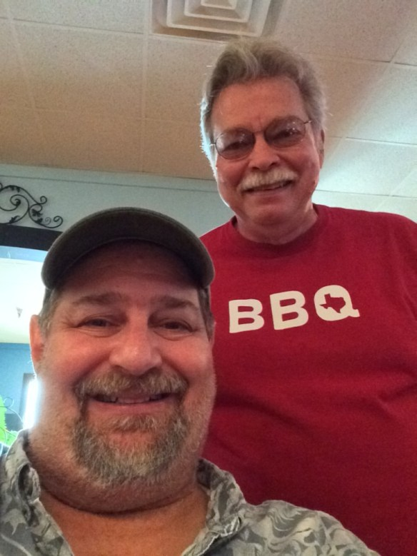 Having BBQ with my old friend and fellow Troubs' fan Michael Fisher in Georgetown, TX