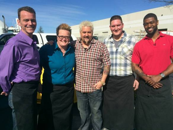 Ranada West-Riley with Guy Fieri and other contestants from Guy's Grocery Games Nov. 2014