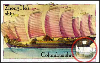 Zheng He ship in comparison with Columbus
