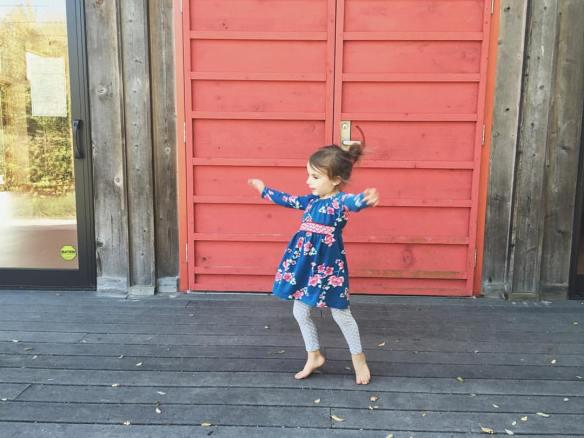 A grandchild dancing