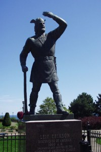 A statue of Leif Erikson in Duluth, MN on the shores of Lake Superior