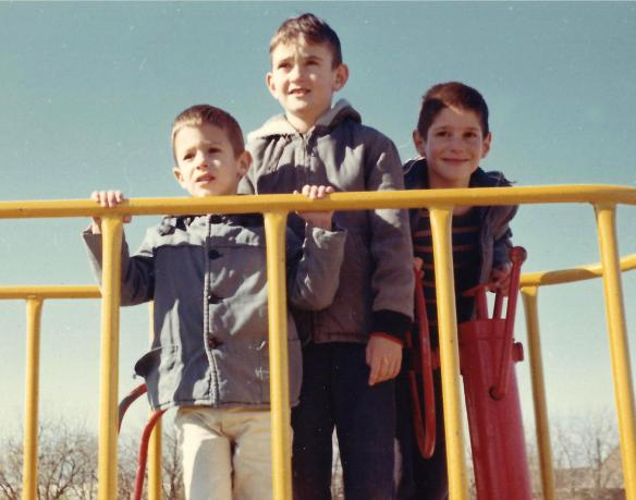 At the playground with Danny and Aaron ca. 1966