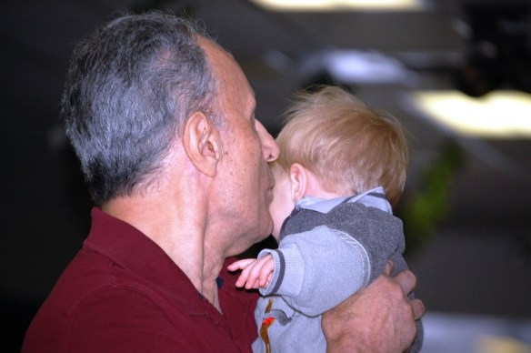 Joe with his then youngest great grandchild Benson Matthews in December 2012