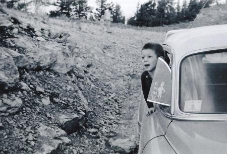 A photo definitely from 1959 (the photo edge said so). I love this one...peeking out of the old car