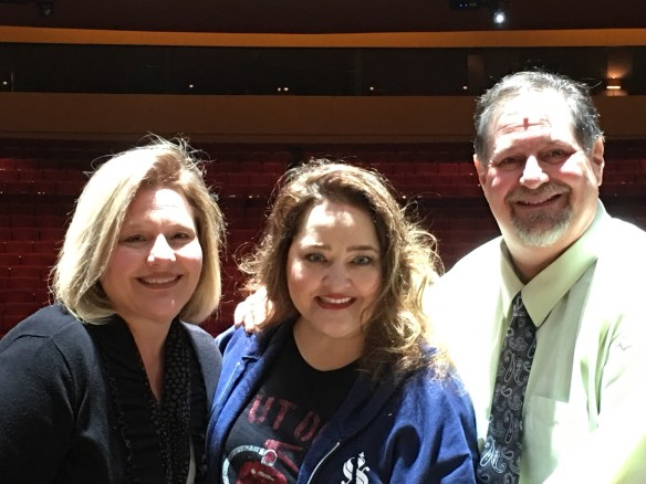 Julianne and I with Tregoney Shepherd on the Wicked stage after the performance