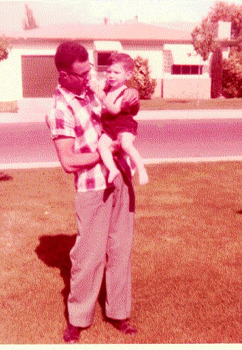 Joe with David in 1958, soon after he became my adoptive father