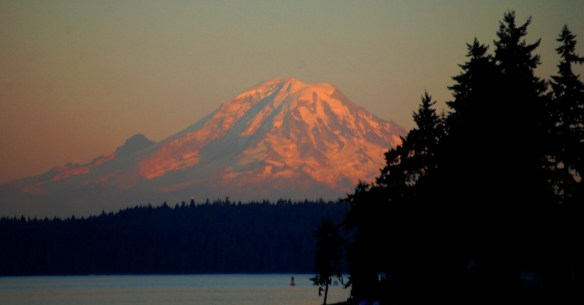 Sunset over Mt. Rainier as seen from the Puget Sound