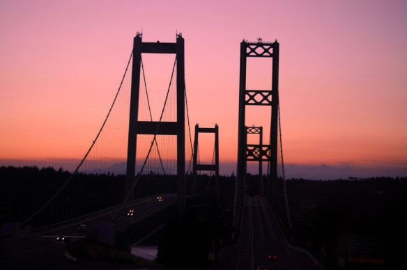 Tacoma Narrows Bridge at sunset