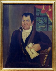 painting of a man in a black suit holding a newspaper