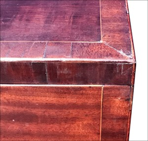 detail of inlay on mahogany cellarette