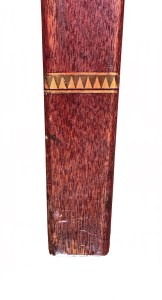 detail of diamond shaped inlay on leg