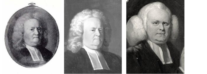 three ministers in 18th century clothing