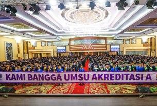 Foto-foto: istimewa for sumut pos AKREDITASI A: Para mahasiswa dalam proses wisuda di UMSU yang kini telah meraih akreditasi A.