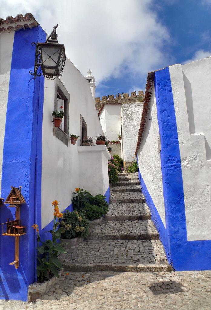 Stone Paved Stairway Street At Obidos Leiria Portugal