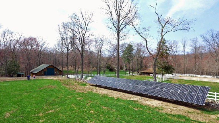 Residential solar ground mount Sun Wind Solutions 50 Panels, horse farm Oxford ct.