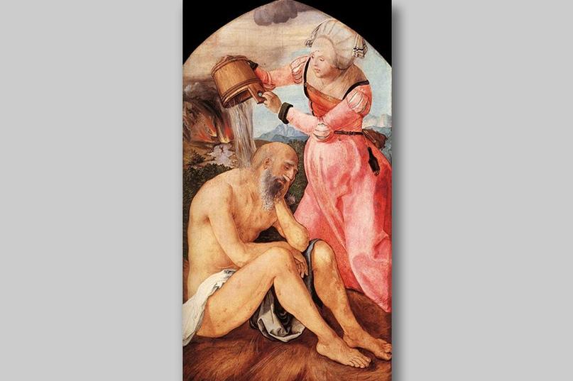 Жена искушает Иова — картина Альбрехта Дюрера (Алтарь Иова (Алтарь Ябаха). Реконструкция. Альбрехт Дюрер)