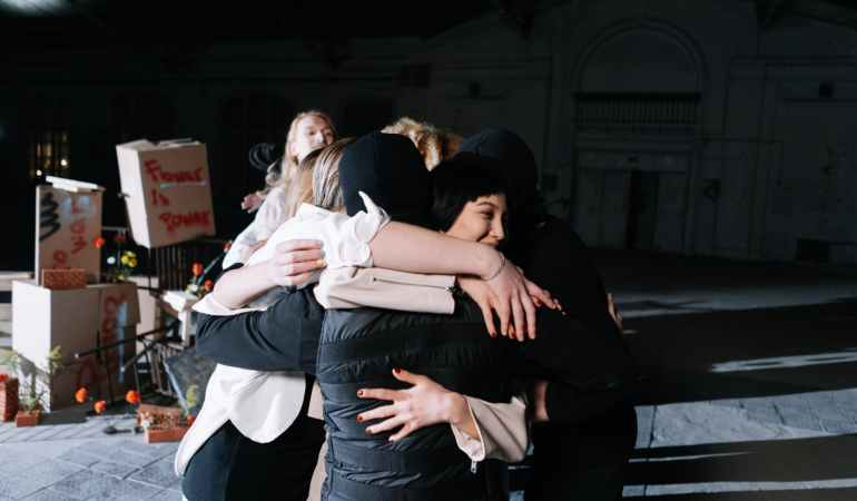 group of people hugging