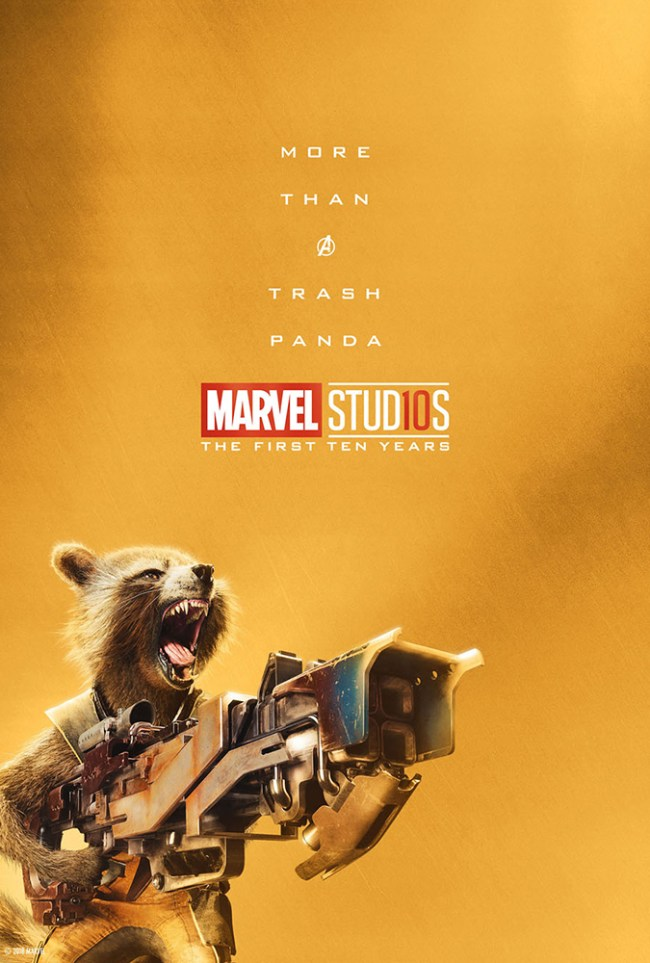 Rocket Racoon is More Than A Trash Panda in this new Marvel Studios 10th Anniversary Poster