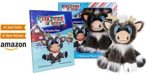 Reindeer in Here book and plushie