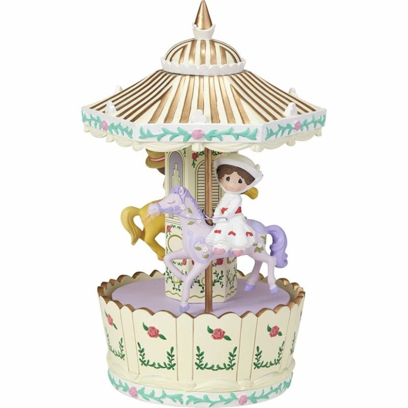 Precious Moments Disney Mary Poppins Make Every Day A Jolly Holiday Carousel Rotating Resin Music Box