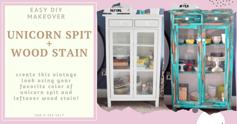 Create a vintage look using Unicorn Spit and wood stain.