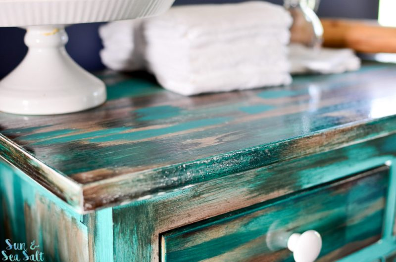 A cabinet makeover with a rustic, vintage look