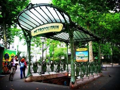 One of the elaborate Art Nouveau entrances to the Paris Metro system.