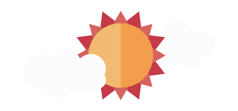 Illustration of the sun behind the clouds.