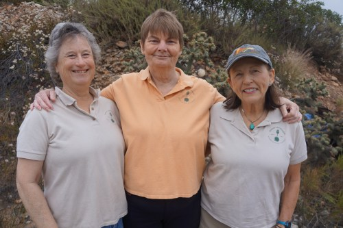 Three women standing shoulder to shoulder. From left to right: Terri Varnell, Paula Knoll, Diana Lindsay