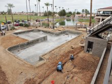 Swimming pool construction is moving along!